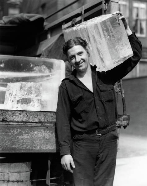 Men At Work Wall Art - Photograph - 1930s Ice Delivery Man Carrying Large by Vintage Images