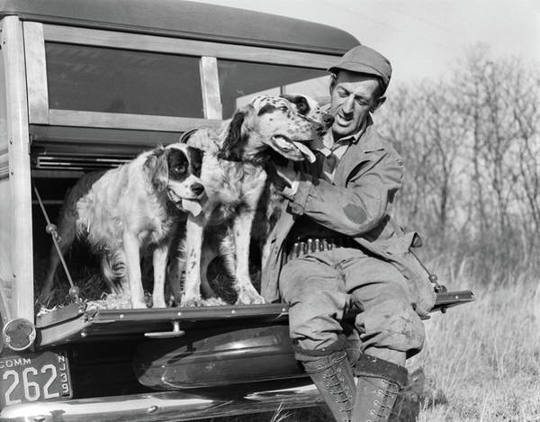 Setters Photograph - 1930s Man In Hunting Clothing Sitting by Animal Images