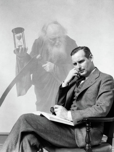 Hands Of Time Photograph - 1930s Man In Suit Seated With Book by Vintage Images