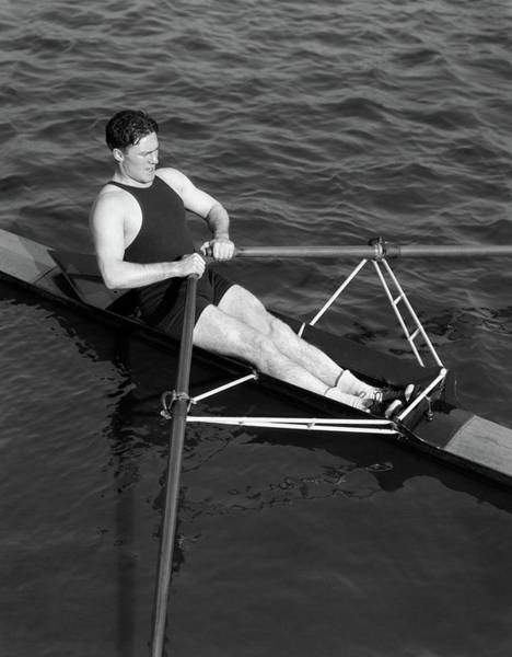 Esteem Photograph - 1930s Man Rowing Sculling Pulling Oars by Vintage Images