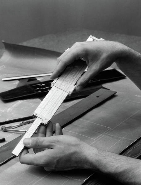 Drafting Photograph - 1930s Mans Hands Using Slide Rule by Vintage Images