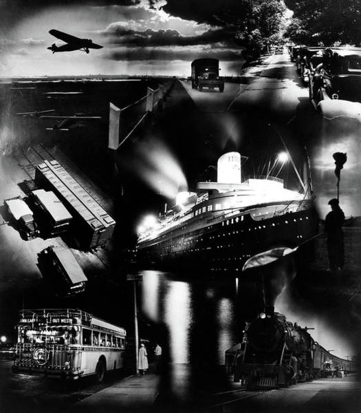 Vintage Airplane Photograph - 1930s Montage Of Transportation Images by Vintage Images