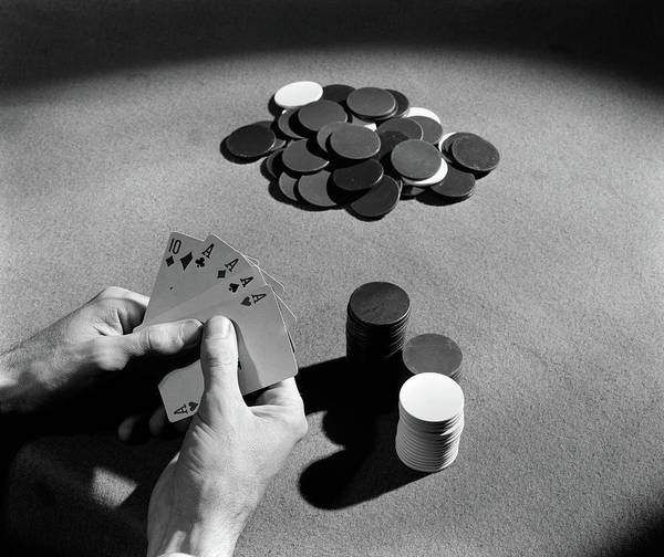 Wall Art - Photograph - 1930s Playing Cards Poker Chips by Vintage Images