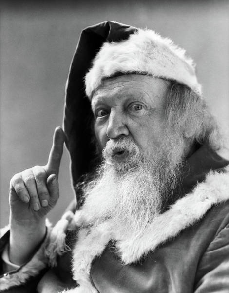 Jolly Holiday Photograph - 1930s Portrait Santa Claus Pointing by Vintage Images