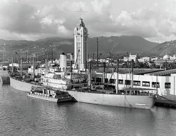 Freighter Photograph - 1930s Ship Freighter At Dock By Aloha by Vintage Images