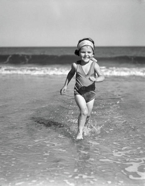 Esteem Photograph - 1930s Smiling Little Girl Running by Vintage Images