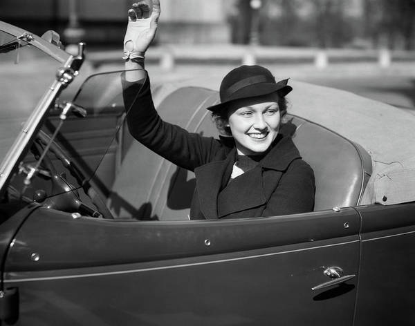 Self Confidence Photograph - 1930s Smiling Woman Driving Convertible by Vintage Images