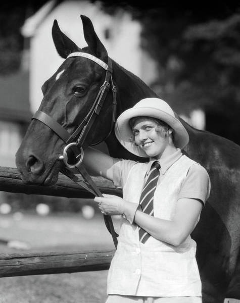 Girl And Horse Photograph - 1930s Smiling Woman In Fashionable Hat by Animal Images
