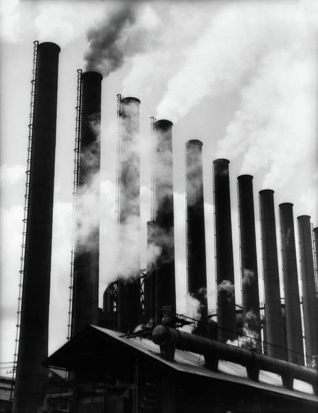 Contamination Photograph - 1930s Smoke Stacks At Factory by Vintage Images