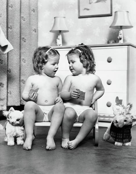 Similar Photograph - 1930s Twin Girls Sitting In A Double by Vintage Images