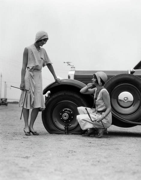 Old-fashioned Photograph - 1930s Two Women Confront An Automobile by Vintage Images