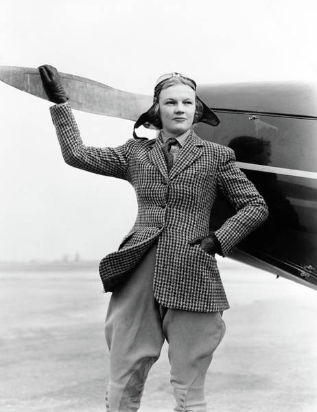 Fearless Photograph - 1930s Woman Aviator Pilot Standing Next by Vintage Images