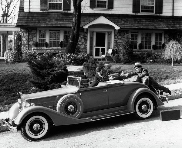 Motoring Photograph - 1930s Woman In Car Packard Handing by Vintage Images