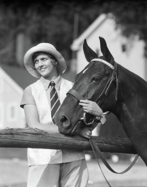 Girl And Horse Photograph - 1930s Woman In Hat Smiling Looking by Animal Images