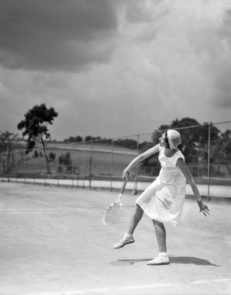 Esteem Photograph - 1930s Woman Playing Tennis Swinging by Vintage Images