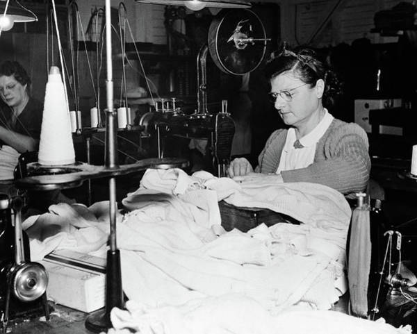 Textile Mill Photograph - 1930s Woman Worker Operation Finishing by Vintage Images