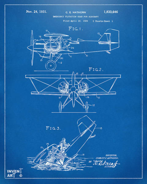 Propellors Digital Art - 1931 Aircraft Emergency Floatation Patent Blueprint by Nikki Marie Smith