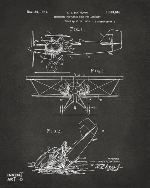 Propellors Digital Art - 1931 Aircraft Emergency Floatation Patent Gray by Nikki Marie Smith