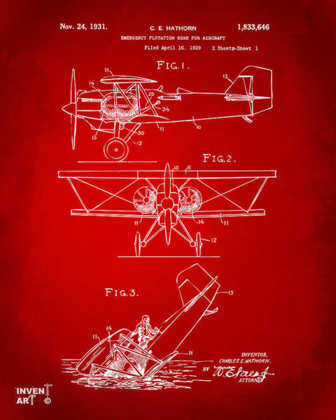 Propellors Digital Art - 1931 Aircraft Emergency Floatation Patent Red by Nikki Marie Smith