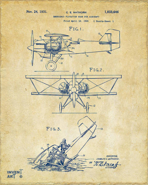 Propellors Digital Art - 1931 Aircraft Emergency Floatation Patent Vintage by Nikki Marie Smith