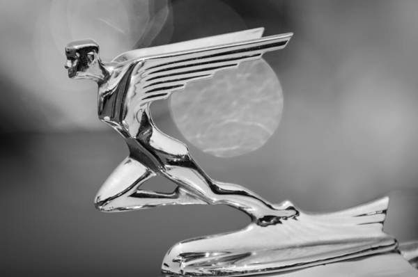 Photograph - 1931 Auburn 898 Boattail Speedster Hood Ornament - 3051bw by Jill Reger