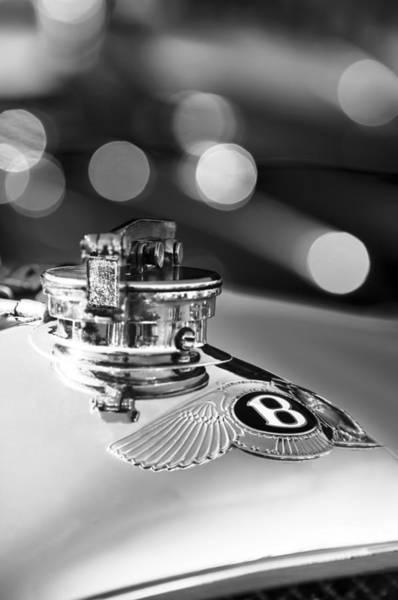Photograph - 1931 Bentley 4.5 Liter Supercharged Le Mans Hood Emblem -1122bw by Jill Reger