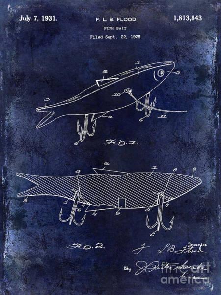 Redfish Lake Photograph - 1931 Fish Bait Patent Drawing  Blue by Jon Neidert