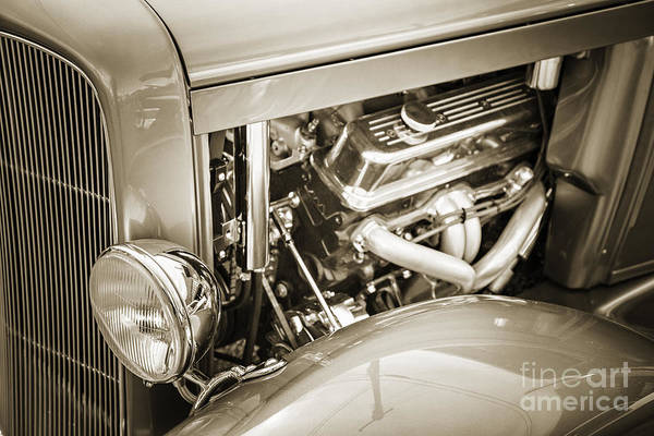 Photograph - 1931 Ford Model A Engine Classic Car In Sepia 3213.01 by M K Miller