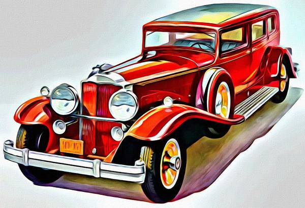 Painting - 1931 Packard Sedan Red by Florian Rodarte