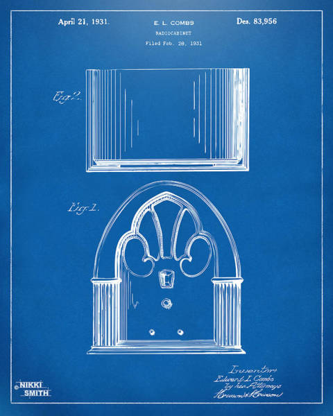Drawing - 1931 Philco Radio Cabinet Patent Artwork - Blueprint by Nikki Marie Smith