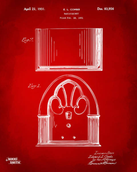 Drawing - 1931 Philco Radio Cabinet Patent Artwork - Red by Nikki Marie Smith