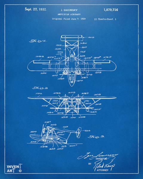 Digital Art - 1932 Amphibian Aircraft Patent Blueprint by Nikki Marie Smith
