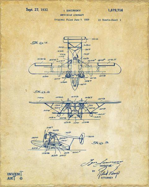 Digital Art - 1932 Amphibian Aircraft Patent Vintage by Nikki Marie Smith