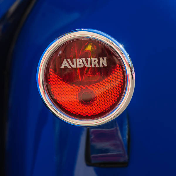 Photograph - 1932 Auburn Twelve Custom Phaeton Taillight Emblem -0649c4 by Jill Reger