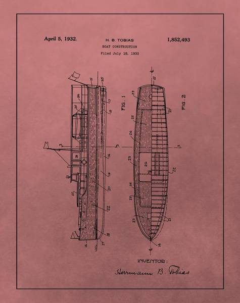 Mixed Media - 1932 Boat Patent Red by Dan Sproul
