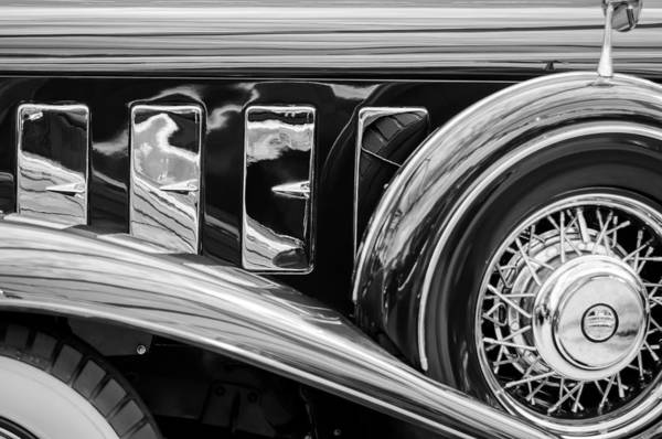 Photograph - 1932 Chrysler Imperial Spare Tire -1055bw by Jill Reger