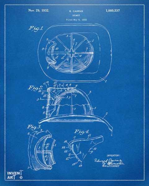 Digital Art - 1932 Fireman Helmet Artwork Blueprint by Nikki Marie Smith
