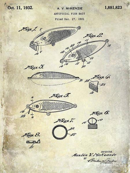 1932 Fishing Patent Drawing  Art Print