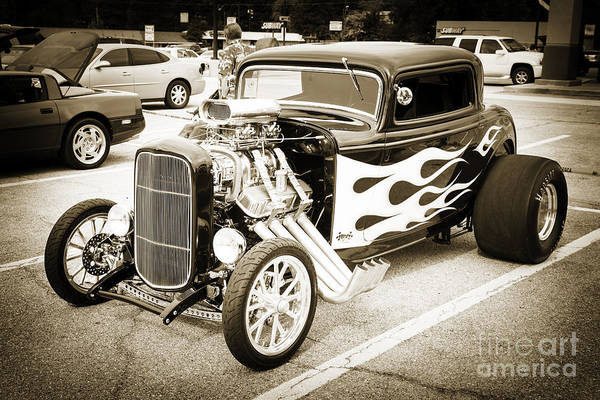 Photograph - 1932 Ford Highboy Front And Side Car Automobile In Sepia  3107.0 by M K Miller
