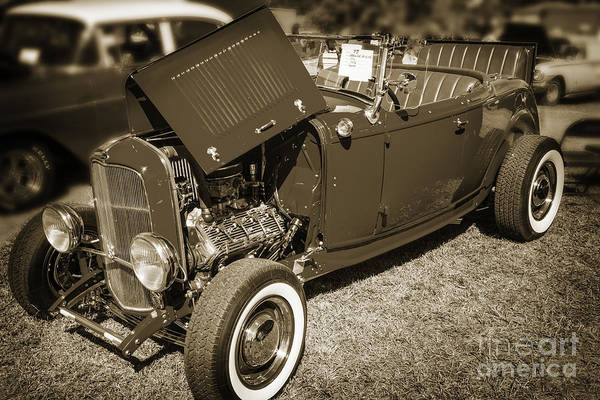 Photograph - 1932 Ford Roadster Classic Automobile Car In Sepia  3058.01 by M K Miller
