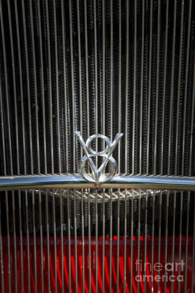 Photograph - 1932 Ford Roadster Emblem V8 Automobile Classic Car In Color  30 by M K Miller