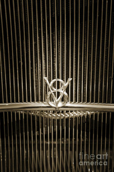 Photograph - 1932 Ford Roadster Emblem V8 Automobile Classic Car In Sepia  30 by M K Miller