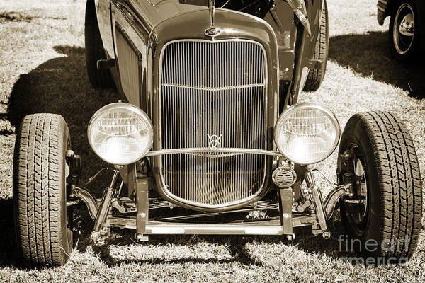 Photograph - 1932 Ford Roadster Front End Automobile Classic Car In Sepia  30 by M K Miller
