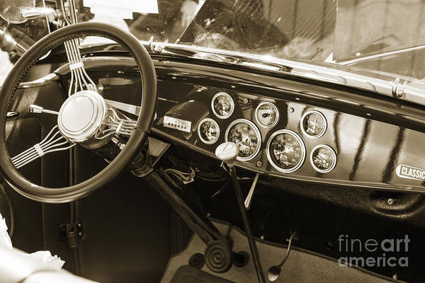 Photograph - 1932 Ford Roadster Interior Automobile Classic Car In Sepia  306 by M K Miller