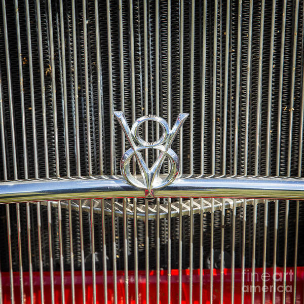 Photograph - 1932 Ford Roadster V8 Emblem Automobile Classic Car In Color  30 by M K Miller