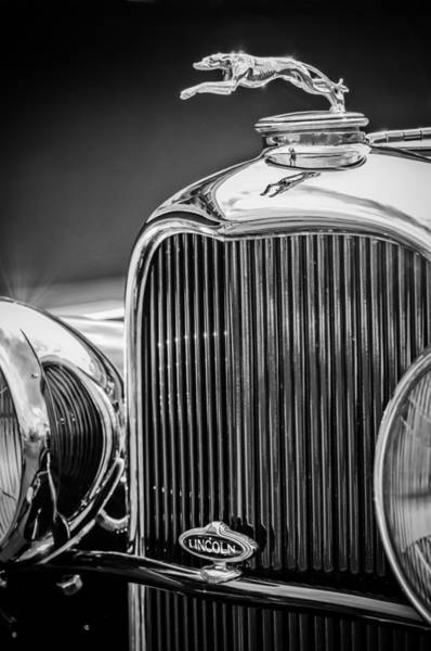 Photograph - 1932 Lincoln Kb Boattail Speedster Hood Ornament - Grille Emblem -0771bw by Jill Reger