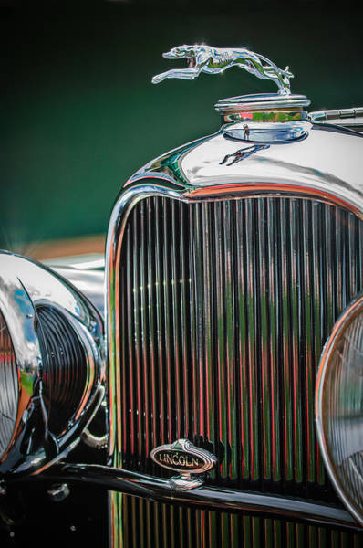1932 Wall Art - Photograph - 1932 Lincoln Kb Boattail Speedster Hood Ornament - Grille Emblem -0771c by Jill Reger