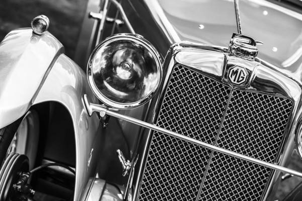 Mg Photograph - 1932 Mg F1 Magna Grille -1363bw by Jill Reger