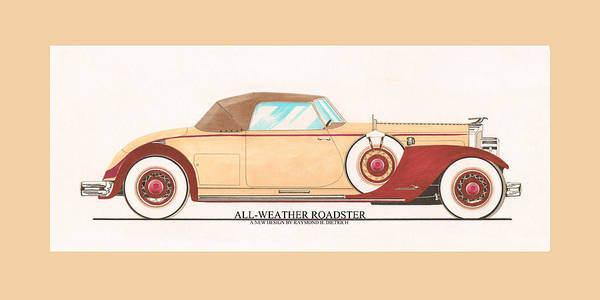Classic Car Drawings Painting - 1932 Packard All Weather Roadster By Dietrich Concept by Jack Pumphrey