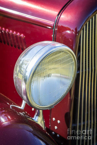 Photograph - 1932 Plymouth Headlight Or Head Light In Color Purple 3046.02 by M K Miller